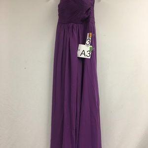 Purple Spaghetti Strap Pleat High Waist Dress 3 A3